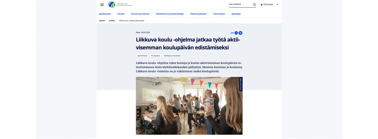 Liikkuva Koulu / Skolan i rörelse - ett finskt projekt för ökad aktivitet i skolan.