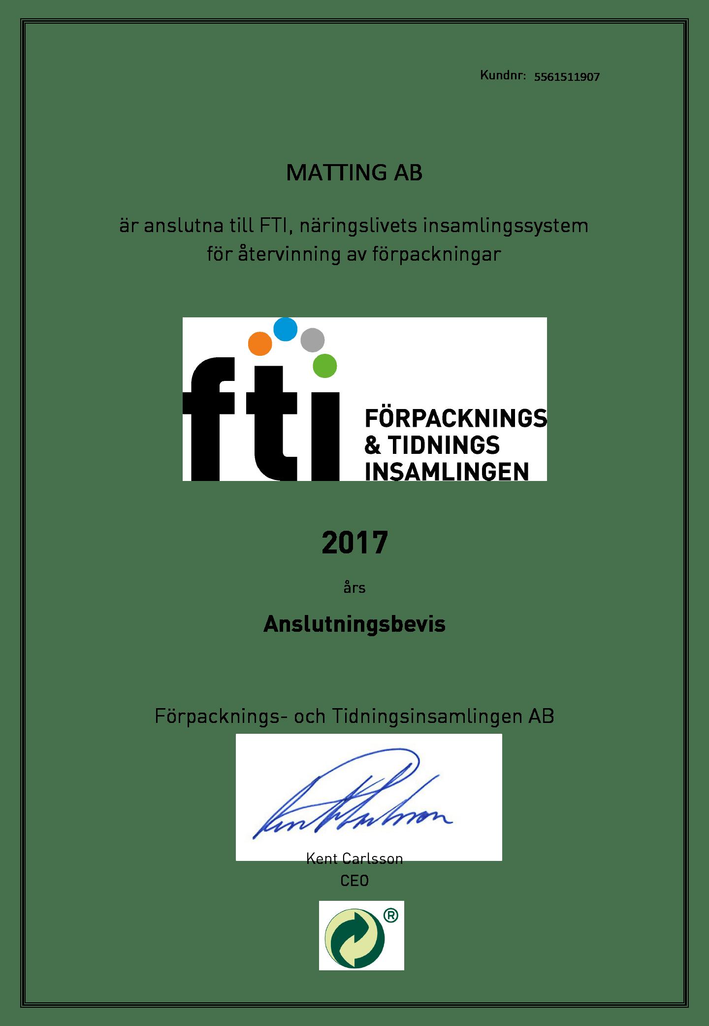 FTI Anslutningsbevis 2017