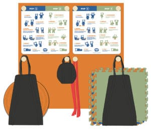 POP by ActiveS innehåll affischer, matta, balansboll, vikter mm